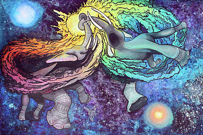 Painting - Elephants In Space by Arleana Holtzmann