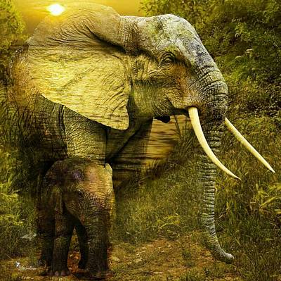 Digital Art - Elephants In The Golden Light by Ali Oppy