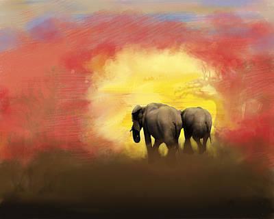 Elephants Into The Sunset Original