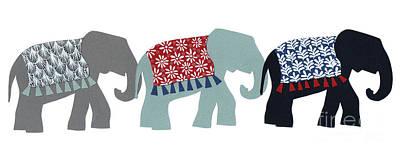Mixed Media - Elephants by Isobel Barber