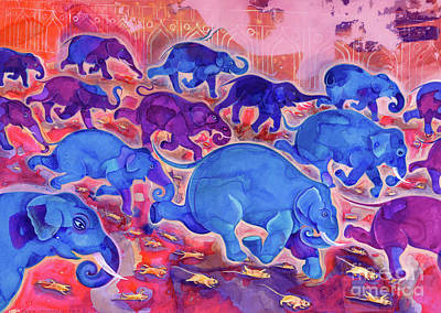 Mouse Painting - Elephants by Jane Tattersfield