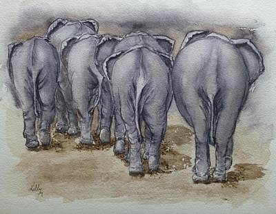 Elephants Leaving...no Butts About It Art Print