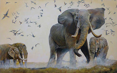 Painting - Elephants by Michelle Iglesias