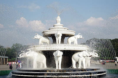 Photograph - Elephants Monument Fountain, Yangon by Kurt Van Wagner