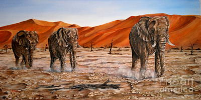Poaching Painting - Elephants Namib Trek Oil Painting by Avril Brand