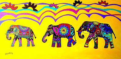 Painting - Elephants On Parade by Julie Brugh Riffey