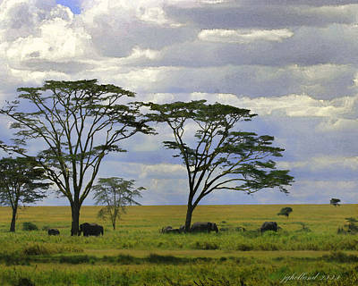 Digital Art - Elephants On The Serengeti by Joseph G Holland