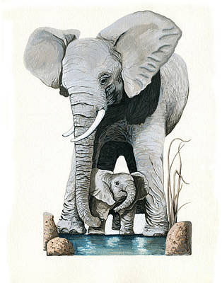 Elephants - Protect Our Children Wildlife Painting Art Print by Linda Apple