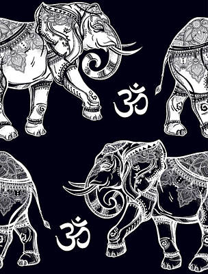 Painting - Elephants Pattern On Black by Aloke Creative Store