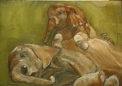 Elephants Print by Rezan Ozger