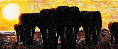 Painting - Elephants  Sunset by Hartmut Jager