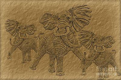 Elephants Three Art Print by Tim Hightower