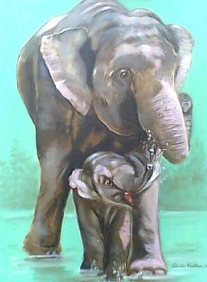 Painting - Elephants by Wanvisa Klawklean