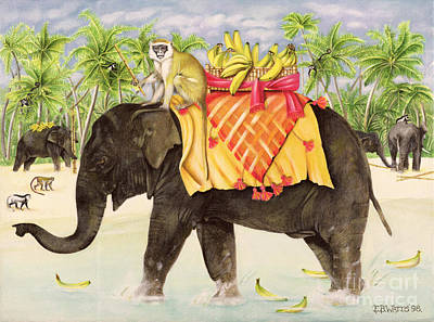 Elephants With Bananas Art Print
