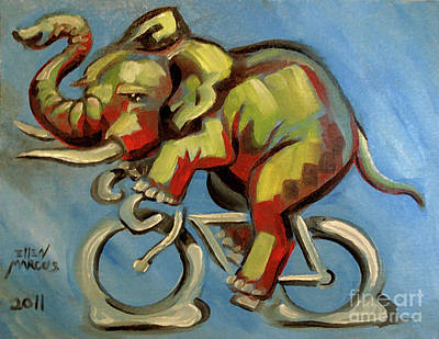 Cycles Painting - Elephas Maximus On A Bicycle by Ellen Marcus