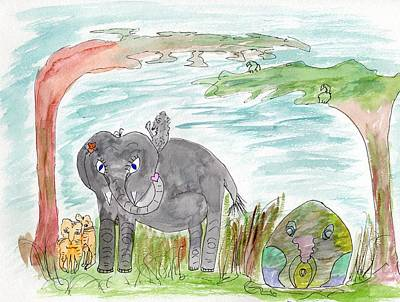 Painting - Elephoot And Crazy Dragon by Helen Holden-Gladsky