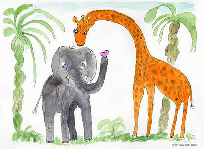 Painting - Elephoot And Elliot by Helen Holden-Gladsky