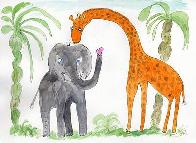 Painting - Elephoot And Elliot Under The Palms by Helen Holden-Gladsky