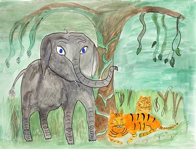 Painting - Elephoot, Ben And Jen Bengal Tigers Under The Banyan by Helen Holden-Gladsky