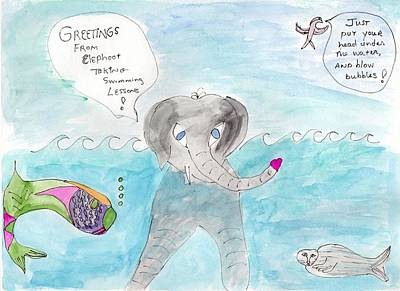 Painting - Elephoot Learning To Swim by Helen Holden-Gladsky