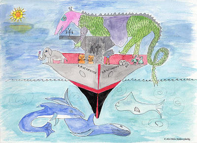 Painting - Elephoot On Tanker Ship by Helen Holden-Gladsky
