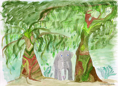 Painting - Elephoot Under The Banyans by Helen Holden-Gladsky