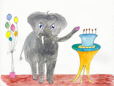 Painting - Elephoot's Birthday Greeting by Helen Holden-Gladsky