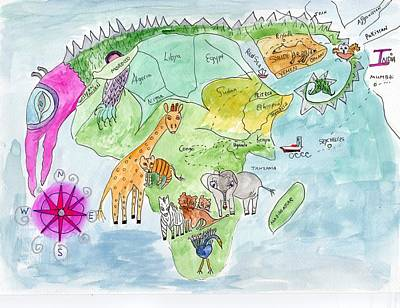 Painting - Elephoot's Map Of Africa by Helen Holden-Gladsky