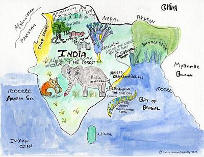 Painting - Elephoot's Map Of India by Helen Holden-Gladsky