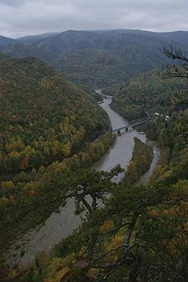Elevated Autumn View Of The Nolichucky Print by Stephen Alvarez