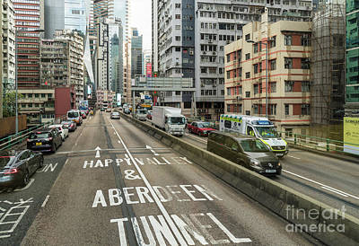 Photograph - Elevated Road In The Very Crowded Causweay Bay District In Hong  by Didier Marti