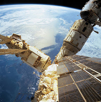 Elevated View Of A Space Station In Orbit Art Print by Stockbyte