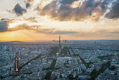 Paris Skyline Photograph - Elevated View Of Paris At Sunset by James Udall