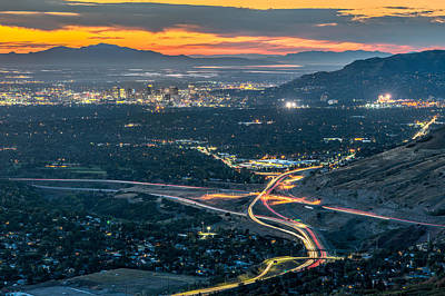 City Sunset Wall Art - Photograph - Elevated View Of Salt Lake City After Sunset by James Udall
