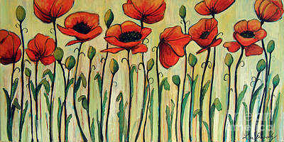 Painting - Eleven Red Poppies by Lee Owenby
