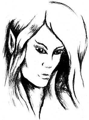Drawing - Elf Girl In Black And White by Kat Heckenbach