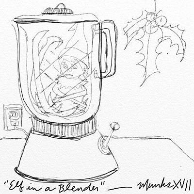 Drawing - Elf In A Blender by John Stillmunks