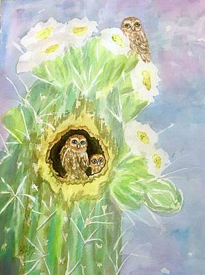 Painting - Elf Owls In Saguaro Cactus  by Ellen Levinson