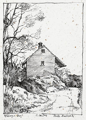 Drawing - Elfinger Berg,old Storage Building by Martin Stankewitz