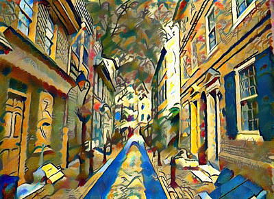 Elfreths Alley Painting - Elfreths Alley Watercolor by Bill Cannon
