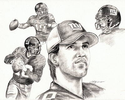 Eli Manning Art Print by Kathleen Kelly Thompson