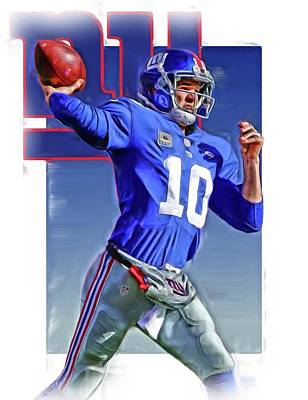 New York Giants Mixed Media - Eli Manning New York Giants Oil Art 2 by Joe Hamilton