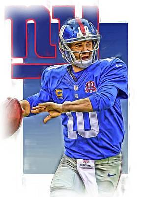 Eli Manning New York Giants Oil Art Art Print by Joe Hamilton