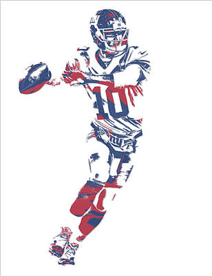 News Mixed Media - Eli Manning New York Giants Pixel Art 10 by Joe Hamilton