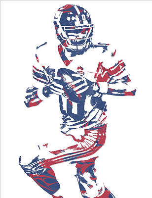 News Mixed Media - Eli Manning New York Giants Pixel Art 11 by Joe Hamilton