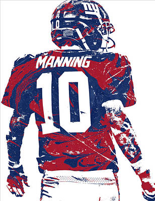Mixed Media - Eli Manning New York Giants Pixel Art 30 by Joe Hamilton
