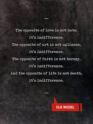 Mixed Media - Elie Wiesel Quotes - Literary Quotes - Book Lover Gifts - Typewriter Quotes by Studio Grafiikka