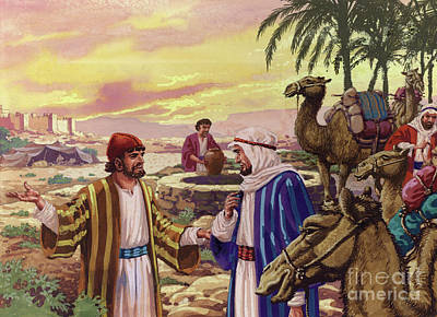 Isaac Painting - Eliezer Arriving At The Well  by Pat Nicolle