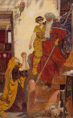 Elijah And The Widow's Son Art Print by Ford Madox Brown