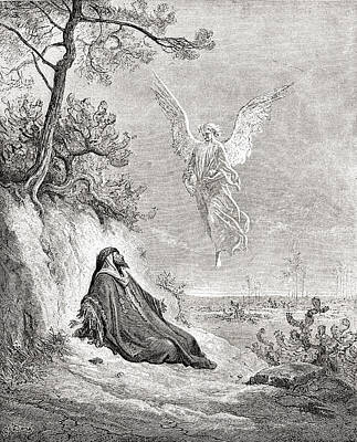 Angelic Drawing - Elijah Nourished By An Angel. After A by Vintage Design Pics